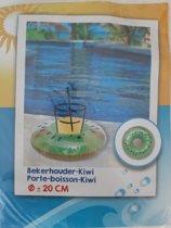 20cm Opblaasbare Bekerhouder Groene Kiwi voor je glas of blikje voor in het zwembad ,DS
