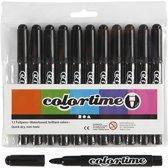 Colortime stift,  5 mm lijn, zwart, 12 stuks