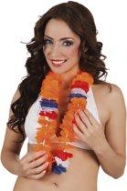 Hawaïkrans oranje/rood/wit/blauw