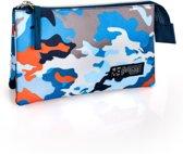 Delbag - Etui 3 Compartimenten - Camouflage - Blauw - 22 cm