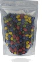 1000 stuks Stazak met bodemvouw en zipper mat zilver / transparant-130x210+40