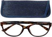Lilly&june Leesbril Havana en Blauw +1.5 - Met Bijpassend Etui