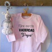 Baby Rompertje tekst dochter meisje eerste Vaderdag cadeau   fijne eerste Vaderdag papa   lange mouwen   roze   maat 62-68   mooiste cadeautje kind cadeautje liefste lief leukste mijn is de allerbeste best