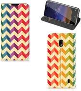 Nokia 2.2 Hoesje met Magneet Zigzag Color