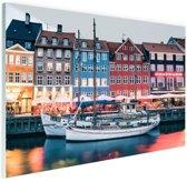 FotoCadeau.nl - Kopenhagen by night Glas 90x60 cm - Foto print op Glas (Plexiglas wanddecoratie)