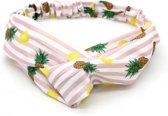 Haarband met roze-witte strepen en ananas/citroen print