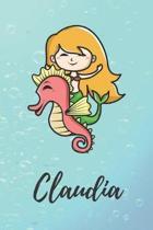 Claudia: s��es personalisiertes Meerjungfrauen Schreibheft / Notizbuch / Tagebuch - viele Vornamen verf�gbar - 100 Seiten linie