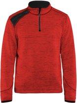 Blaklader Blåkläder 4943 Gebreid Sweatshirt 1/2 rits Rood/Zwart XS