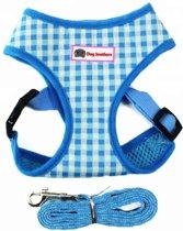 Hondentuig blauw geblokt met bijpassende riem - maat S - borstomvang 32-35 cm (honden van ongeveer 2-3 kilo)
