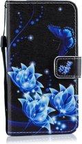 Mobigear Wallet Case Blauw Vlinder Pattern Samsung Galaxy J6 2018