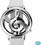 Horloge- G sleutel- Wit- Lak- 38 mm