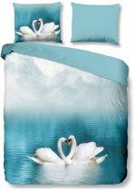 Good Morning Swan - Dekbedovertrek - Tweepersoons - 200x200/220 cm + 2 kussenslopen 60x70 cm - Blauw