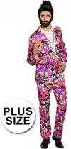 Grote maten eighties kostuum roze 58 (3xl)