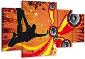 Canvas schilderij Dansen | Zwart, Rood, Geel | 160x90cm 4Luik
