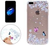 iPhone 7 Plus / iPhone 8 Plus (5,5 Inch) - hoes, cover, case - TPU - Transparant - Bloemen en vlinders