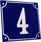 Emaille huisnummer blauw/wit groot nr. 4 18x15cm