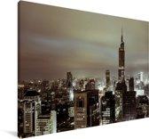 Skyline Nanjing in de avond Canvas 30x20 cm - klein - Foto print op Canvas schilderij (Wanddecoratie woonkamer / slaapkamer)