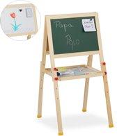 relaxdays krijtbord en whiteboard - schoolbord - staand - tekenbord - op ezel - magnetisch