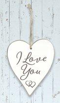 """Houten hart """"I Love You"""""""