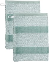 Beddinghouse Sheer Stripe - Set van 2 washandjes - 600 gr/m2 - 16x22 cm - Groen