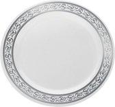 Deluxedisposables Luxe wegwerp bord - 26 cm - wit met zilveren boord - Plastic - 10 stuks