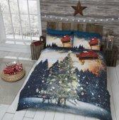 Kerst dekbedovertrek - Kerstboom en Noorderlicht - 2 persoons met 2 kussenslopen
