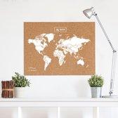 Wereldkaart kurk XL wit 90 x 60cm