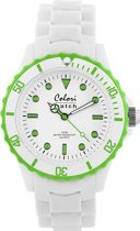 Colori White Summer 5 COL016 Horloge - Siliconen Band - Ø 40 mm - Wit / Groen