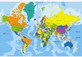 Wereldkaart kleuren poster (muur decoratie) 90x60 cm | Wereldkaart Poster