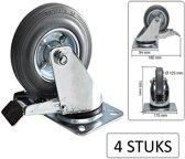 Zwenkwiel + Rem 125mm, Draagvermogen Tot 100 kg (4 Stuks)