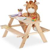 relaxdays kinderpicknicktafel hout - tuintafel kinderen - speeltafel - kindertafel tuin