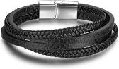 Victorious - Zwarte Gevlochten Lederen Armband - Zilverkleurige RV S Sluiting - 20 cm