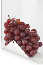 Verse tros rode druiven op een witte achtergrond Tuinposter 120x180 cm - Tuindoek / Buitencanvas / Schilderijen voor buiten (tuin decoratie) XXL / Groot formaat!