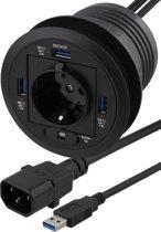 Deltaco VR-821 In-Desk USB HUB, 3 poort USB HUB met enkele stekkerdoos voor montage in het kabelgat van bureaus voor synchroniseren en opladen (max. 2.4A), 3 x USB 3.1, 1 x 240V