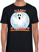 Happy Halloween spook verkleed t-shirt zwart voor heren - horror spook shirt / kleding / kostuum M