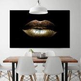 Canvas Schilderij * Gouden Lippen Mond * - Kunst aan je Muur - Modern Abstract - Goud en Zwart - 50 x 75 cm