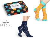 Happy Socks 2-Pack Clashing Dot Giftbox, Watermelon & Dots, Maat 41/46