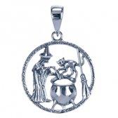 zilveren hanger Heks met kat en ketel