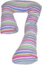 Voedingskussen / Zwangerschapskussens | J-vorm 235 cm | Gekleurde strepen I