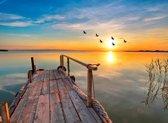Papermoon Sunset Pier Vlies Fotobehang 350x260cm 7-Banen
