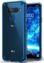 Ringke Fusion LG V40 ThinQ Hoesje Doorzichtig Aqua Blue