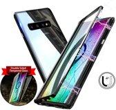 Magnetische case met voor - achterkant gehard glas voor de Samsung Galaxy S10 - Zwart