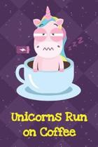 Unicorns Run On Coffee: Funny Unicorn Notebook and Journal for Writing with Purple Diamonds and Stars on the Cover Design