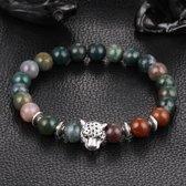Victorious - Armband Kleurrijke Natuurstenen - zilverkleurige Luipaard - Vanaf 16 cm