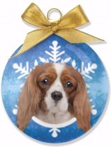 Kerstboom decoratie kerstbal hond King Charles Spaniel 8 cm