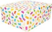 Inpakpapier wit met gekleurde gummiberen  - 200 x 70 cm - cadeaupapier / kadopapier