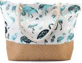 Strandtas met Flamingo's en Ananassen - 54x40 cm - Wit en Blauw - Dielay