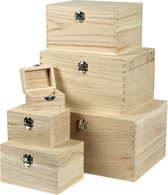 Set houten dozen, Keizerin boom, 6 assorti