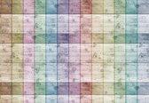 Fotobehang Coloured Wooden Planks | L - 152.5cm x 104cm | 130g/m2 Vlies