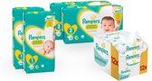 Pampers Premium Protection Startpakket - 88 luiers maat 1, 82 luiers maat 2 en 12 Sensitive Babydoekjes